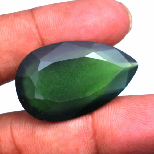 Natural Serpentine 38.00 Cts Huge Pear Faceted Cut Untreated Loose Gemstone