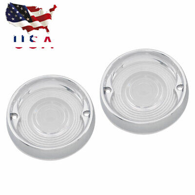 USA Turn Signal Light Clear Lens Cover&Trim Rings for Harley Electra Glide 86-19