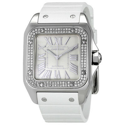 Cartier Santos  de Cartier 100 Opaline Dial White Rubber Ladies Watch WM50460M
