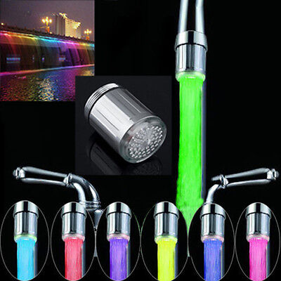 LED Water Stream Faucet Light Automatic 7 Colors Changing Shower Spout Sink KY