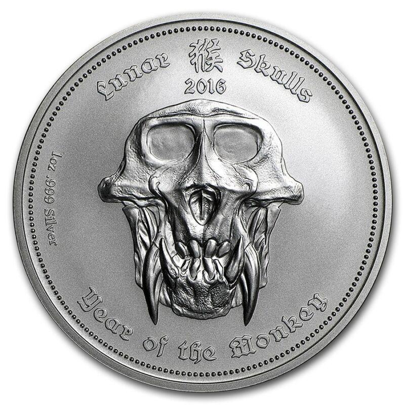 2016 Republic Of Palau - Year Of The Monkey - 1 oz Silver BU Lunar Skulls Coin