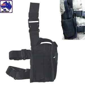 Black Tactical Puttee Thigh Gun Holster Pouch Leg Pistol Outdoor Hunt CSBAG 2355