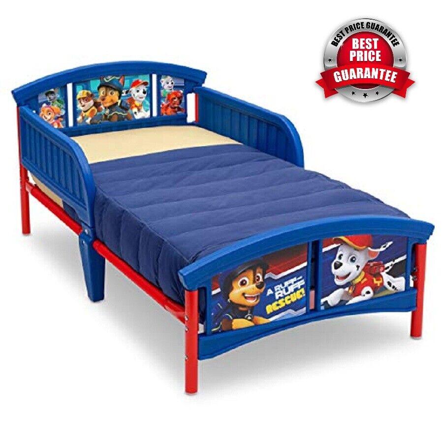 Plastic Toddler Bed PAW Patrol Children Steel Frame Blue Wit