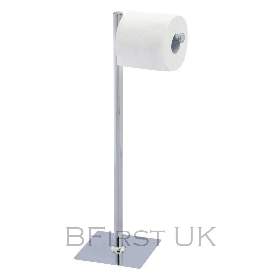 Chrome Free Floor Standing Toilet Papper Roll Holder Storage Stand Bathroom Ebay