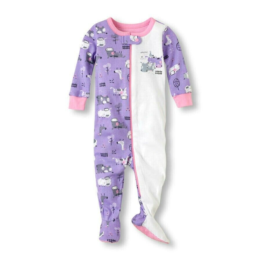 THE CHILDREN'S PLACE 1PC FARM THEMED GIRLS FOOTED STRETCHIE
