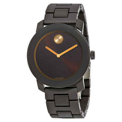 Movado Bold Brown Sunray Dial Men's Stainless Steel Watch 3600462