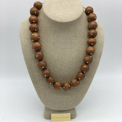 Sylvia Benson Brown Wood Beaded Studded Necklace Brown Stud Necklace