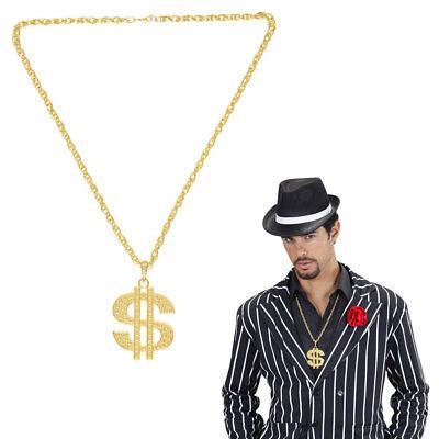 GOLD DOLLARKETTE Karneval Rapper Sänger Rockstar Zuhälter Millionär Kostüm 4878 (Kostüm Gold Kette)