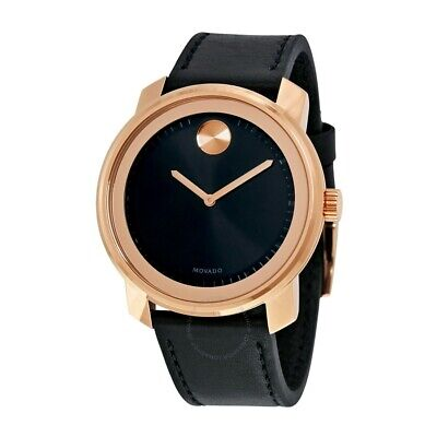 Men's Movado 3600376 Bold Black Dial Rose Gold Case Black Leather Watch