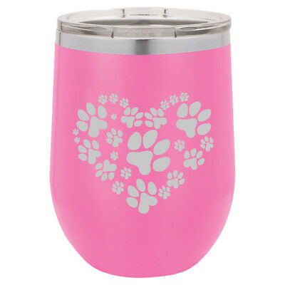 Print Insulated Travel Mug (Stemless Wine Tumbler Coffee Travel Mug Glass Double Insulated Heart Paw Prints)