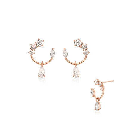[STONE HENGE] Silver 925 Rose Earrings SC1153 with Case K-beauty