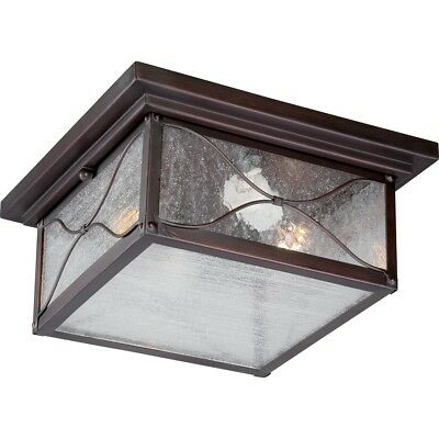 Nuvo Vega 2 Light Outdoor Flush Fixture w/ Clear Glass, Classic Bronze - -