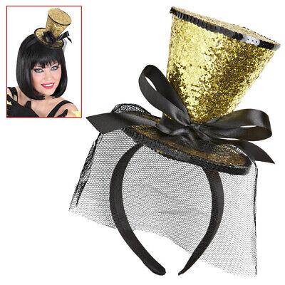 MINI ZYLINDER GOLD Glitzer Hütchen Haarreif Hut Burlesque Show Kostüm Party - Mini Zylinder Kostüm