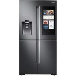 FINANCE A SAMSUNG 4-DOOR COUNTER-DEPTH FRIDGE WITH FAMILY HUB--BLACK STAINLESS STEEL!