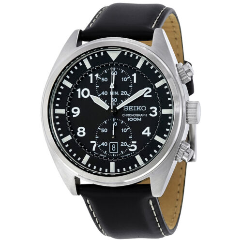 Seiko Black Dial Stainless Steel Chronograph Mens Watch SNN231P2
