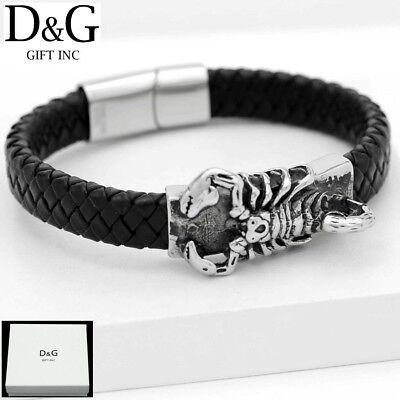 "DG Men's 8""Stainless~Steel Silver,Braided Leather,Magnetic.Scorpion Bracelet BOX"