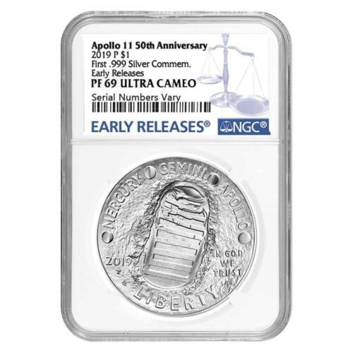 2019 Apollo 11 50th Anniv NGC PF69 Early Releases 1 Oz Proof Silver Dollar Coin
