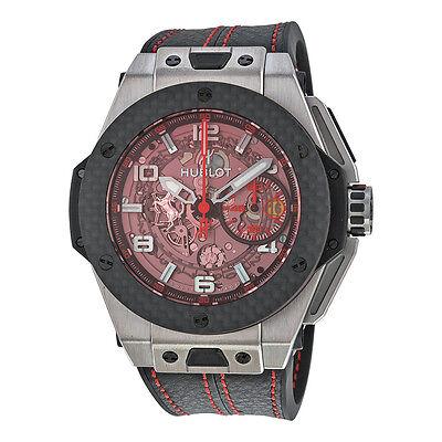 Hublot Big Bang Ferrari Chronograph Skeleton Dial Mens Watch 401.NQ.0123.VR