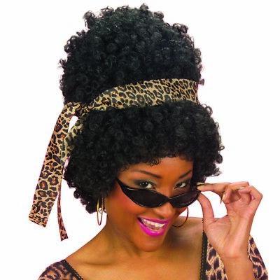 AFRO PERÜCKE SCHWARZ & BRILLE # 80er 90er Jahre Disco Fasching Kostüm Party - Schwarz Afro Perücke Kostüm