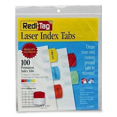 Redi-Tag Laser Printable Index Tabs, 1 1/8 in, 5 Colors, 100/Pack, PK - RTG33120