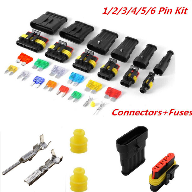 Waterproof Electrical Connector Terminal Car 1/2/3/4/5/6Pin Way Wire Blade Fuses