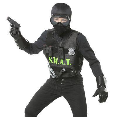 KINDER S.W.A.T. KUGELSICHERE WESTE Karneval Jungen Polizei SEK Kostüm SWAT 00323 ()