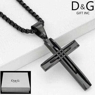 "DG Men's 24"" Black.Stainless-Steel.Box Chain Necklace.CROSS Pendant + BOX"