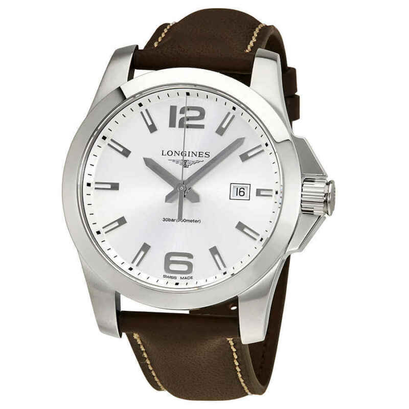 Longines-Conquest-Silver-Dial-Brown-Leather-Men-43mm-Watch-L37604765
