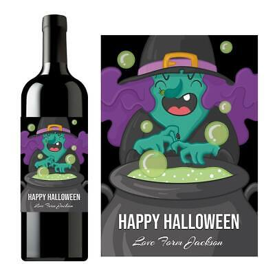 Alcoholic Halloween Treats (PERSONALISED HALLOWEEN NAME WINE ALCOHOL TRICK OR TREAT BOTTLE LABEL)