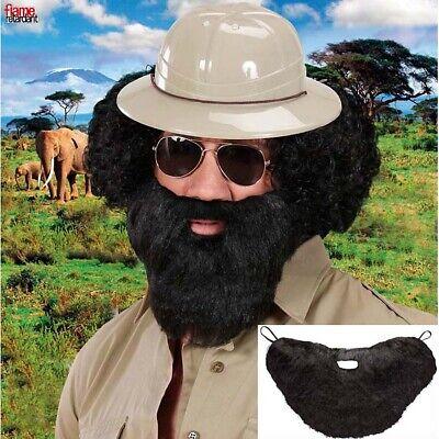 SCHWARZER VOLLBART Karneval Safari Ranger Doktor Arzt Kunstbart Kostüm Bart - Schwarz Ranger Kostüm