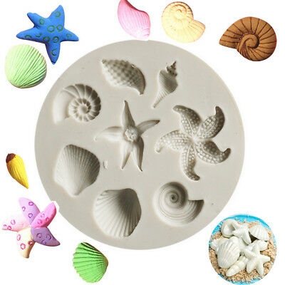 Beach Sea Shells Starfish Silicone Fondant Mould Cake Decorating Baking Mold DIY