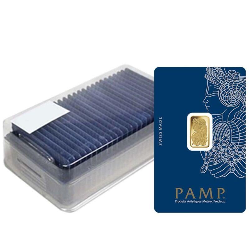 Box Of 25 - 2.5 Gram Gold Bar Pamp Suisse Lady Fortuna Veriscan .9999 Fine (in