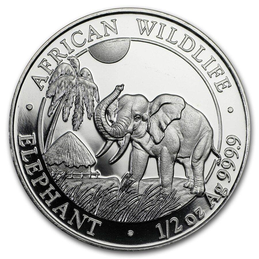 (Lot Of 5 Coins)  2017 1/2 oz Somalia Elephant .999 Silver Coin BU