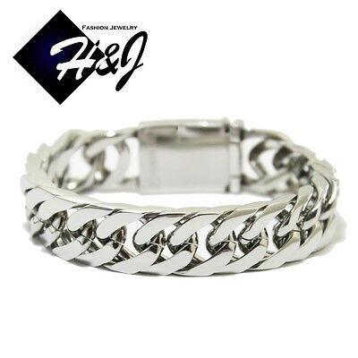 "9""MEN's Stainless Steel HEAVY WIDE 17x5mm Silver Cuban Curb Chain Bracelet"