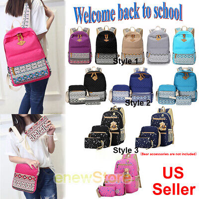 Women Girls lady backpack+Messenge bag+Handbag Shoulder School Book Bags Canvas - Bible Bag
