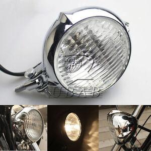 Polished Vintage Bates Style Headlight Lamp for Bobber Chopper Softail Springer