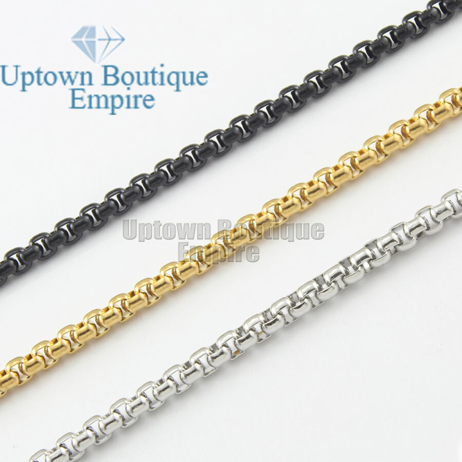 "Jewellery - 18-36"" Men stainless steel Gold Silver Black Pearl Box Necklace Chain"