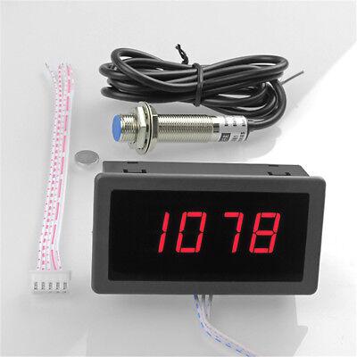 1x Digital Red Led Tachometer 10-9999 Rpm Meter Gauge Proximity Switch Sensor