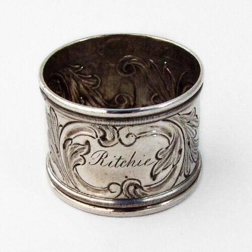 Canadian Silver Foliate Scroll Napkin Ring Savage Lyman 1860 Mono Ritchie