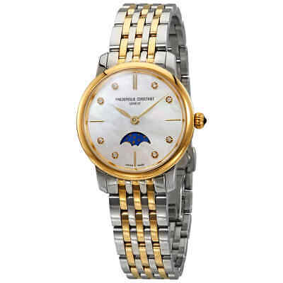 Frederique Constant Slimline MOP Diamond Dial Ladies Watch FC-206MPWD1S3B