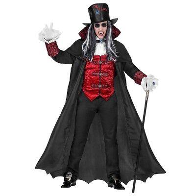 PREMIUM VAMPIR HERREN KOSTÜM Halloween Dracula Gothic Lord Mantel Zylinder -