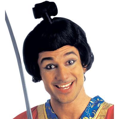 PERÜCKE SAMURAI mit Dutt Bun Japaner Chinese Shogun Ninja Kostüm Haarteil C6055 ()