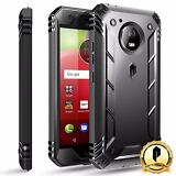 Poetic Revolution Moto E4 Rugged Case With Built-In Screen Protector Cover Black