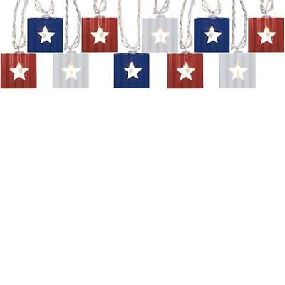 Allen + Roth Red White Blue Metal Star Cut Out Shades String Lights Patiotic NIB ()