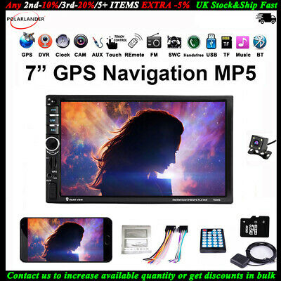 GPS 2 Din Touch Screen Car Radio+Camera BT MP5 Player DVR Navigation Mirror Link