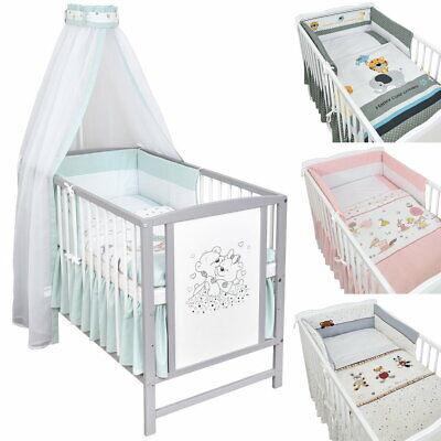 Babybett Gitterbett 120x60 Grau Weiß Bärchen Bettwäsche Bettset komplett