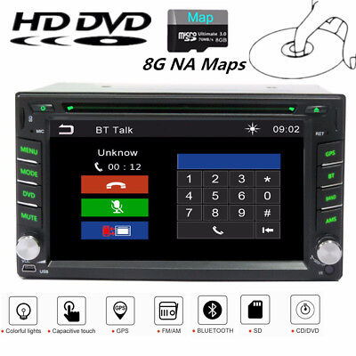 6.2 Inch HD 2Din Car GPS Navigation Stereo DVD Player Bluetooth Radio w/ 8G Maps