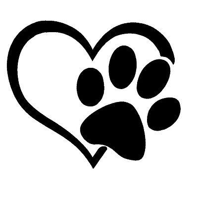 PAW PRINT HEART I LOVE MY DOG Sticker Vinyl Decal Window PUPPY Sign Buy2Get1Free - Puppy Paw Print