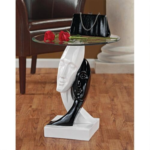 Contemporary Ebony & White Serene Lovers Glass Top Glossy Accent Table