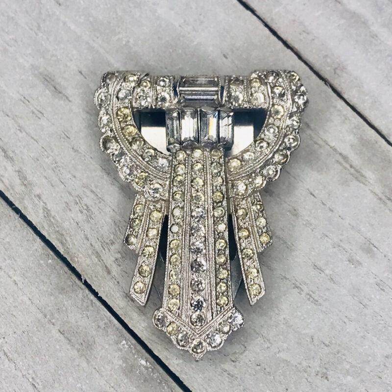Vintage Art Deco Diamante Stone Hallmarked Rhinestone Dress Clip